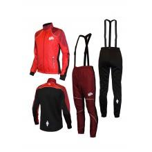 """Детский разминочный лыжный костюм """"Бейсик-Юниор 19"""" (красно-бордовый)"""