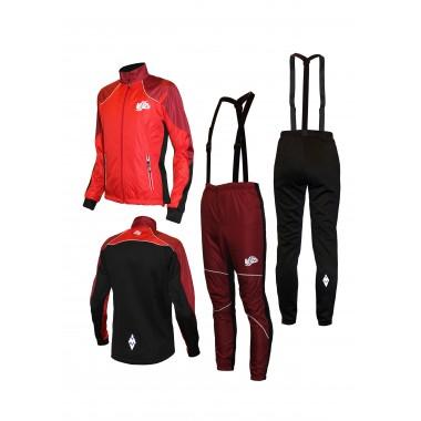 """Разминочный лыжный костюм """"Бейсик-19"""" (красно-бордовый)"""