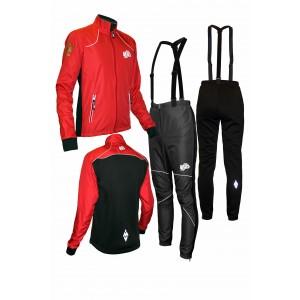 """Детский разминочный лыжный костюм """"Бейсик-18"""" (красный)"""