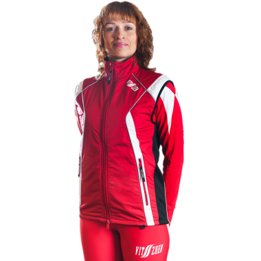 Жилет спортивный виндстоппер на флисе (красный)