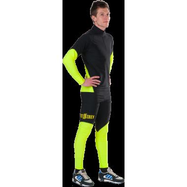 Гоночный лыжный костюм (черно-салатовый)