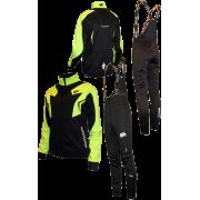 """Разминочный лыжный костюм """"Профи"""" (черный с лаймовым)"""