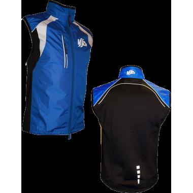 Ветрозащитный спортивный жилет  на сетке (сине-черный)