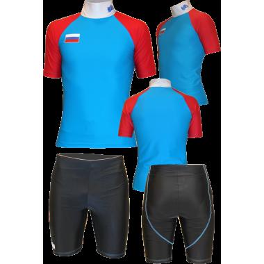 Подкомбинезонник с коротким рукавом (сине-красный)