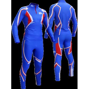 Гоночный лыжный костюм с шапкой  (синий)
